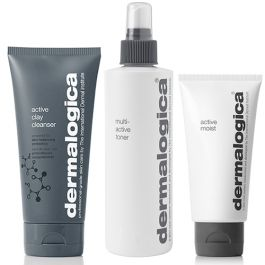 Dermalogica Active Clay Cleanser 150ml, Multi-Active Toner 250ml & Active Moist 100ml Pack