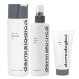 Dermalogica Special Cleansing Gel 250ml, Multi-Active Toner 250ml & Active Moist 100ml Pack