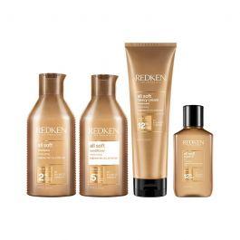 Redken All Soft Shampoo 300ml, Conditioner 300ml, Heavy Cream 250ml & Argan-6 Oil 111ml Pack